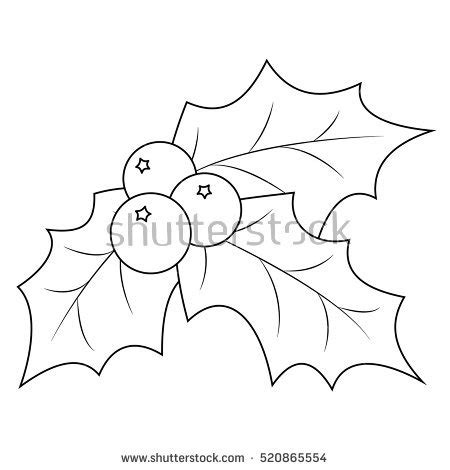 christmas coloring pages holly leaves coloring book page christmas holly berry stock vector