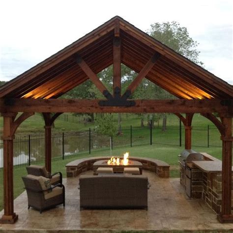 A fireplace pavilion made using the Truss Base Fan, Truss