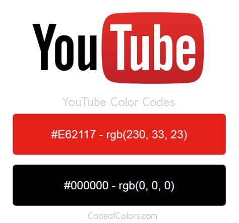 colour red youtube youtube colors hex and rgb color codes