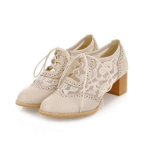 womens vintage oxford shoes s oxfords beige lace vintage chunky heels shoes for