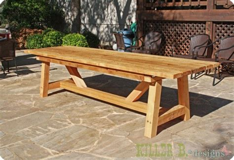 Wood Patio Table Plans by Outdoor Wood Dining Table