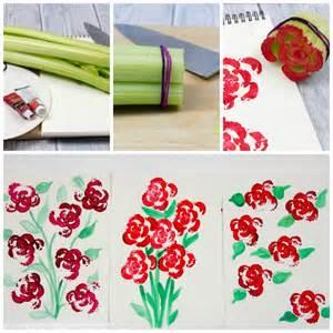 Flower Garden Design Ideas printing flowers with celery stalks vegetable printing