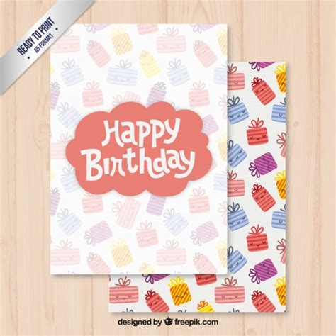 Birthday Card Template Freepik by Happy Birthday Card Template Vector Free