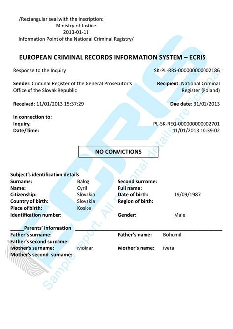 Criminal Record Check Republic Slovak Criminal Record Check From Criminal Register Of The General Prosecutor S Office