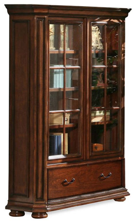 Cherry Bookcase With Glass Doors Riverside Cantata 76 Quot Glass Door Bookcase Burnished Cherry Bookcases By Harvey