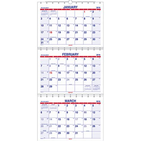 Month At A Glance Calendar At A Glance 3 Month Wall Calendar 12 X 26 12 60percent