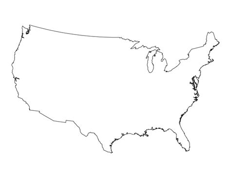 Usa Outline With States by Tim De Vall Comics Printables For