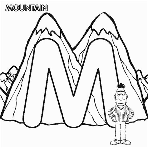 alphabet coloring pages m abc letter m mountain sesame street bert coloring page