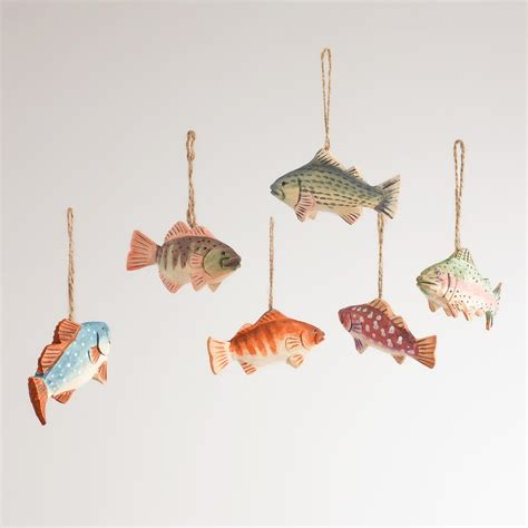 wooden fish ornaments set of 6 world market