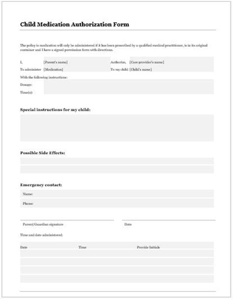 Medication Consent Form Template by Release Authorization Forms For Ms Word Word