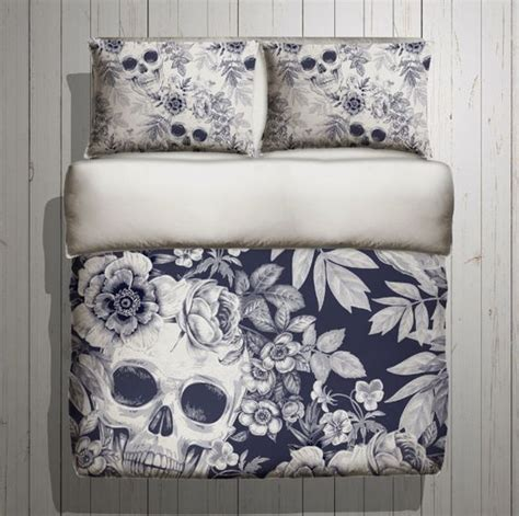 skull bedding blue print mega print  large  inkandrags decorating  home  dont