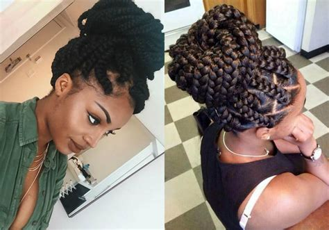 big braids for updo casual box braids bun hairstyles to look cool