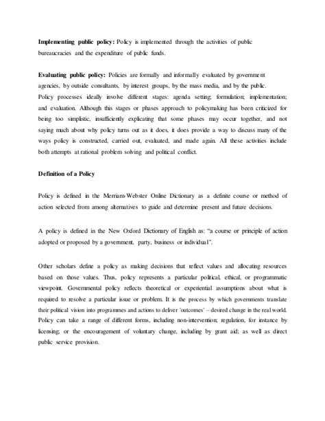 policy summary template the challenges in policy formulation policy analysis and