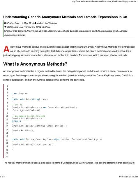 tutorial lambda c tutorials c sharp understanding generic anonymous methods