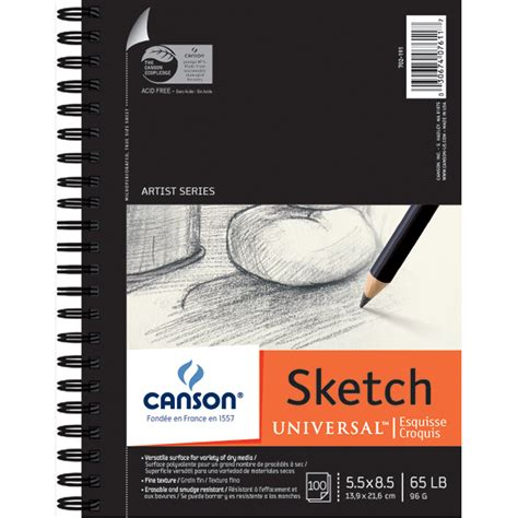 sketchbook canson one canson universal spiral sketch book 5 5ins x 8 5ins 100