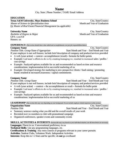Master Resume Format