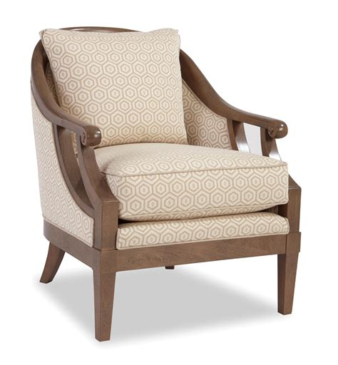 Wooden Accent Chairs by Traditional Wood Framed Accent Chair With Scroll Arms By