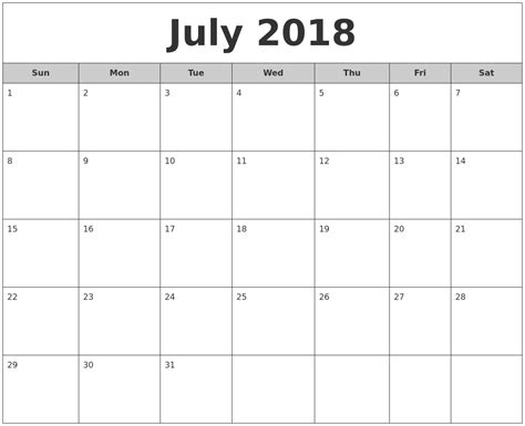 printable calendar july august 2018 july 2018 free monthly calendar