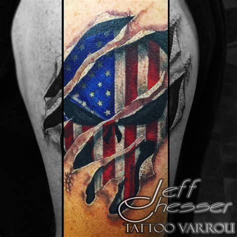 punisher tattoo punisher american flag torn skin tattoos by me