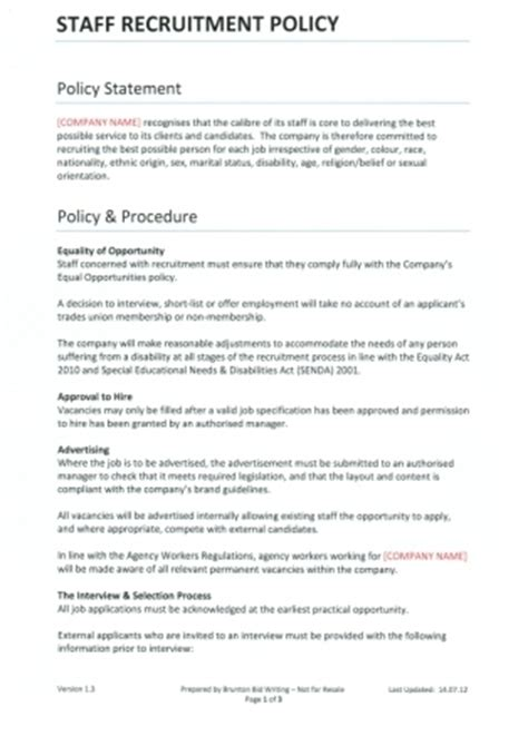 staff recruitment policy template for recruitment agencies