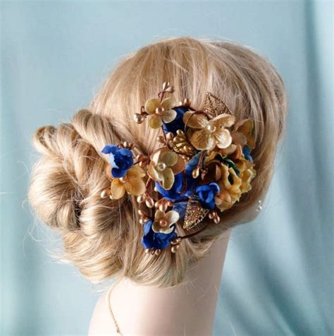 Wedding Hair Accessories Blue by Royal Blue And Gold Flower Hair Accessory Bridal By