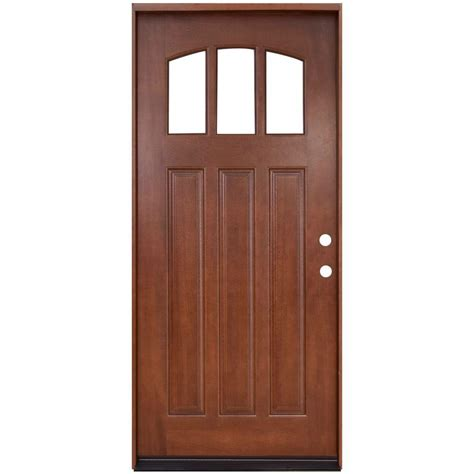 Hardwood Front Door Steves Sons 36 In X 80 In Craftsman 3 Lite Arch Stained Mahogany Wood Prehung Front Door