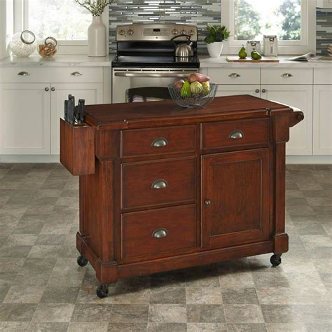 kitchen island cherry home styles the aspen rustic cherry kitchen cart with storage 5520 95 the home depot