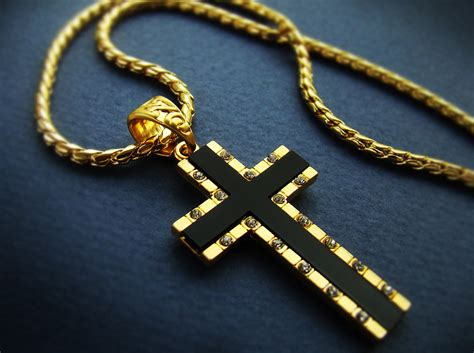 1 57 quot mens cross pendant necklace 18k gold plated mens
