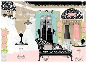 Girly Chandeliers Bridal Boutique Interior Design Damask Wedding Boutique