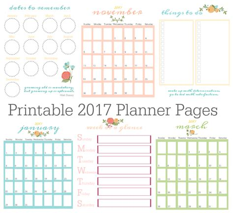 Printable Weekly Planner Pages 2017 | printable 2017 planner pages gluesticks