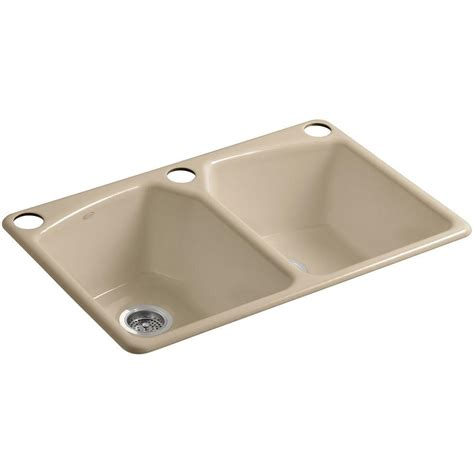 Kitchen Bowl Sink Kohler Brookfield Undermount Cast Iron 33 In 5 Bowl Kitchen Sink In White 5846 5u 0