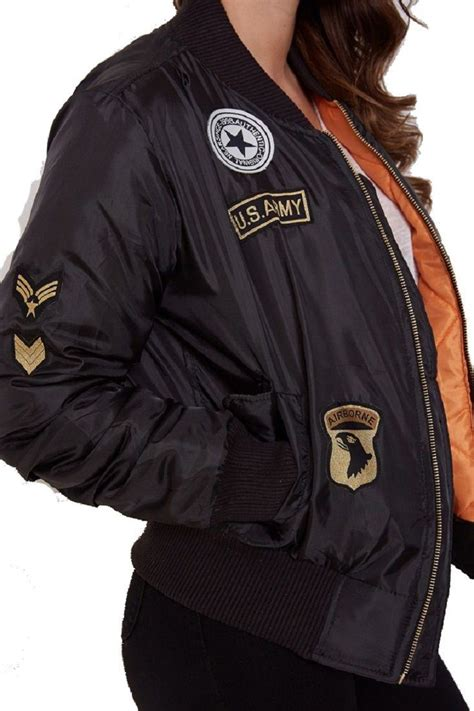 Jaket Bomber Army Size L 1 new womens ma1 combat badge army vintage bomber biker