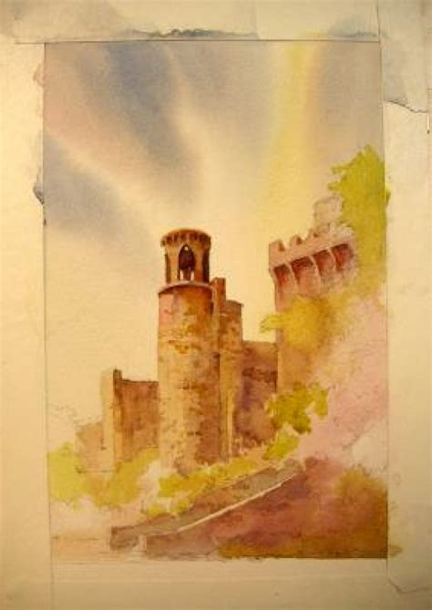in watercolor technique for sky painting blarney castle ireland roland
