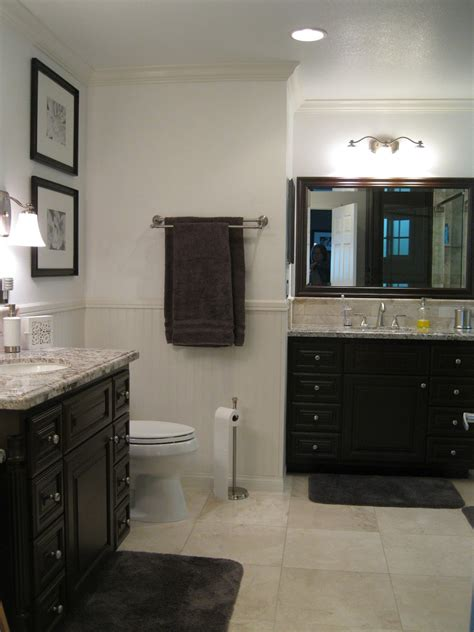 grey and beige bathroom ideas decor wooden vanity with granite countertop and wall decors for gray and beige