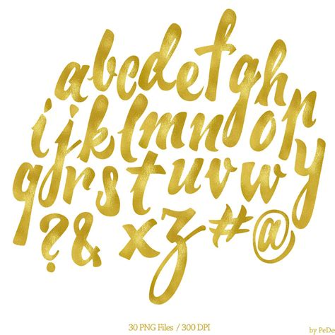 printable gold font gold alphabet clipart 68