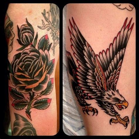 eagle tattoo with roses paul dobleman traditional old school eagle and black rose