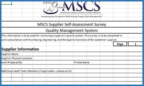 Supply Chain Management Supply Chain Assessment Template