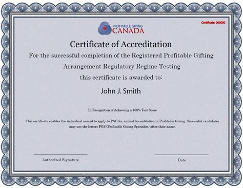 Certificate Giving Letter Certificate Of Accreditation Profitable Giving Canada