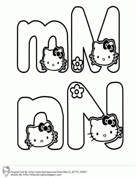 hello kitty coloring pages with letters learning abc with hello kitty learn to coloring
