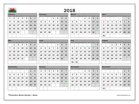 Australia Calendrier 2018 Calendar 2018 Wales