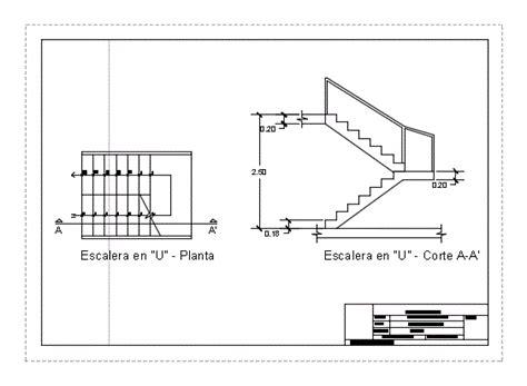 escaleras en corte frontal escalera en u en autocad descargar cad gratis 41 21 kb