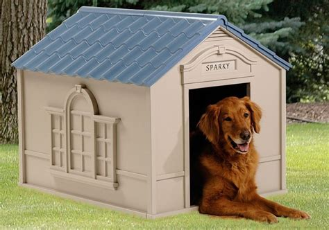 suncast deluxe dog house new large durable dog house all weather resin doghouse pet outdoor puppy kennel ebay