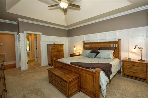bedroom wainscoting craftsman master bedroom with high ceiling wainscoting