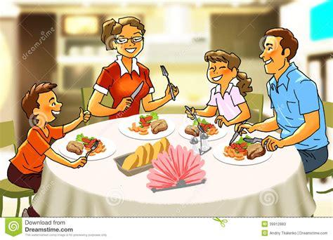 clipart cena famiglia felice alla tavola di cena illustrazione di stock