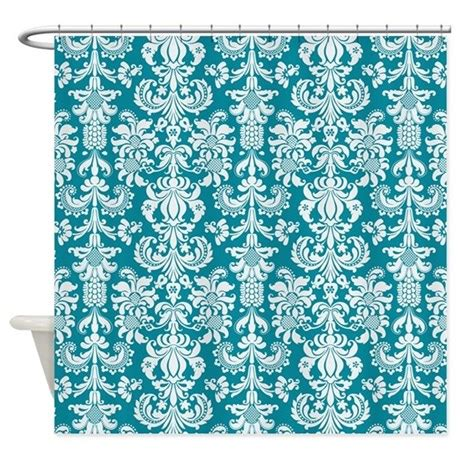 blue and white shower curtains white and blue green floral damasks shower curtain by