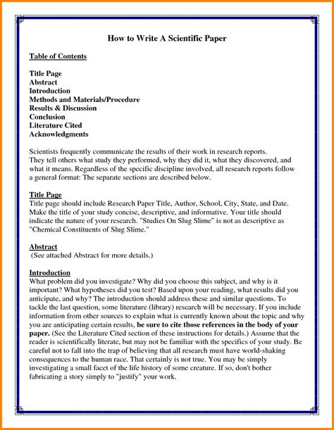 writing a scientific research paper exle sle scientific research paper introduction