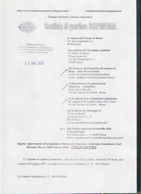 lettere di diffida comitato di quartiere serpentara accordo di programma