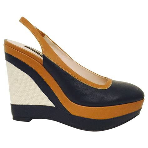 escada navy and toffee leather wedge slingbacks