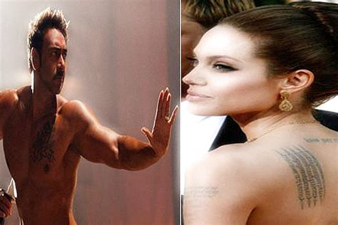 angelina jolie new tattoo on chest ajay devgn to angelina jolie stars religious tattoos