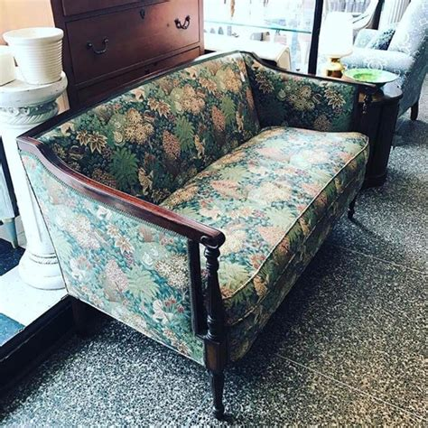 dc upholstery mahogony sofa with floral upholstery from miss pixies attic